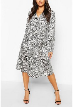Animal Mono Leopard Button Front Midi Dress