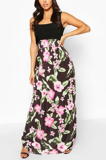 Multi 2in1 Square Neck Tropical Floral Print Maxi Dress