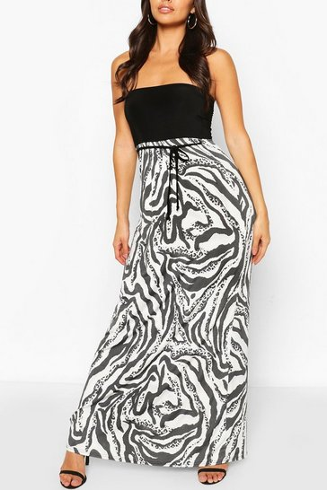 Multi 2 in1 Mixed Animal Print Bandeau Maxi Dress