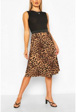 Leopard Midi Skirt, Brown