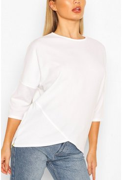 White Asymmetric Hem T-Shirt With Zip
