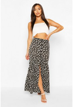 Black Ditsy Floral Button Front Drop Hem Maxi Skirt