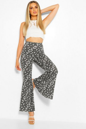 Black Ditsy Floral Jersey Flares
