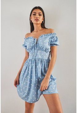 Blue Polka Dot Puff Sleeve Skater Dress