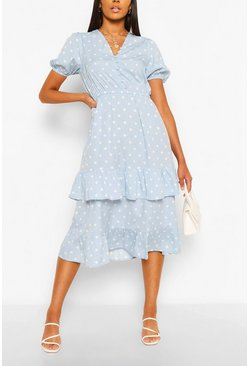 Blue Polka Dot Ruffle Hem Midi Dress