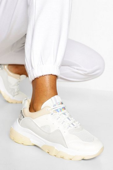 Beige Chunky Sole Lace Up Trainer