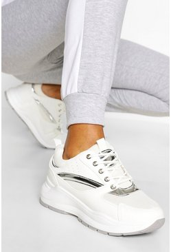 White Retro Sports Sneakers