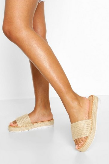 Natural Raffia Single Strap Footbed Slider