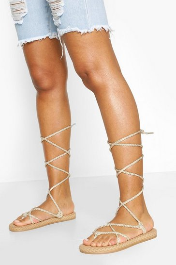 Beige Rose Wrap Up Strap Sandal