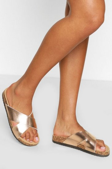 Rose gold Cross Strap Footbed Slider