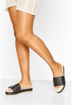 Black Espadrille Slider