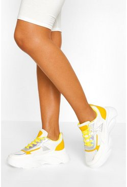 Mustard Chunky Lace Up Sneakers
