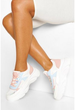 Pink Chunky Lace Up Sneakers