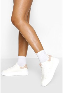 Pink Lace Up Flatform Sneakers