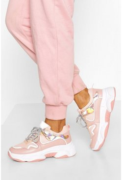 Pink Chunky Metallic Panel Sports Trainer