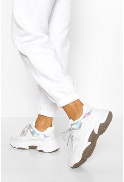White Chunky Metallic Panel Sports Trainer