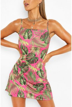 Palm Print Strappy Swing Dress, Hot pink