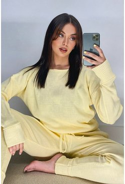 Lemon Slash Neck Knitted Lounge Set