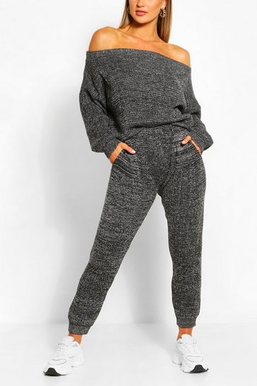 Black Marl Knitted Lounge Set