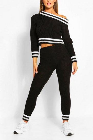 Black Slash Neck Stripe Lounge Set