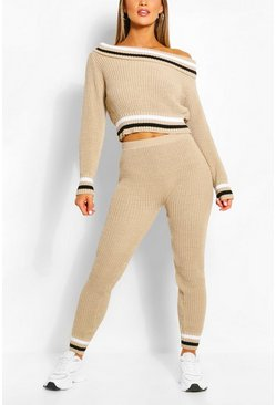 Stone Slash Neck Stripe Lounge Set