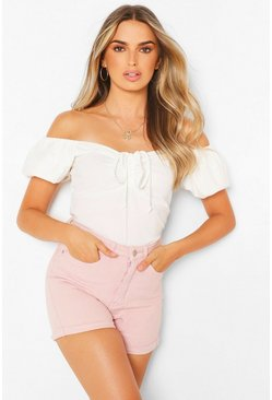 Pink Pastel High Waist Denim Shorts