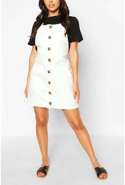 Horn Button Denim Mini Dress, Ivory