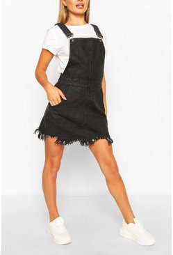 Black Frayed Hem Denim Dungaree Dress