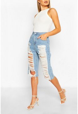 Light blue Mid Rise Distressed Longline Denim Shorts