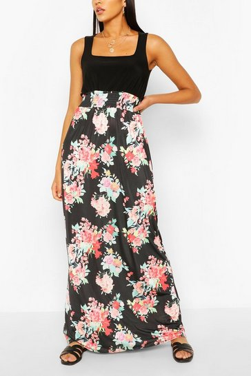 Black Square Neck Floral Printed Maxi