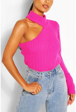 Pink Cut Out One Sleeve Jumper