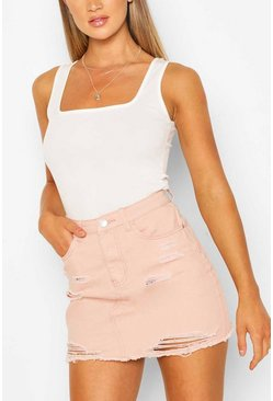 Pink Distressed Mini Skirt