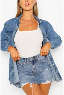 Mid blue Distressed Denim Skirt