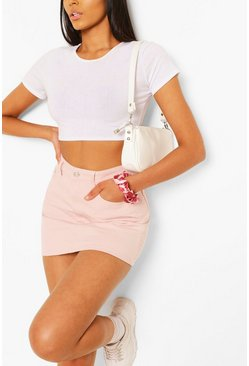 Pastel Pink Denim Skirt, Baby pink