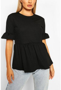 Black Crepe ruffle smock top