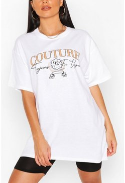 Couture Slogan T- Shirt, White