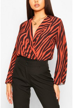 Rust Animal Print Blouse Body