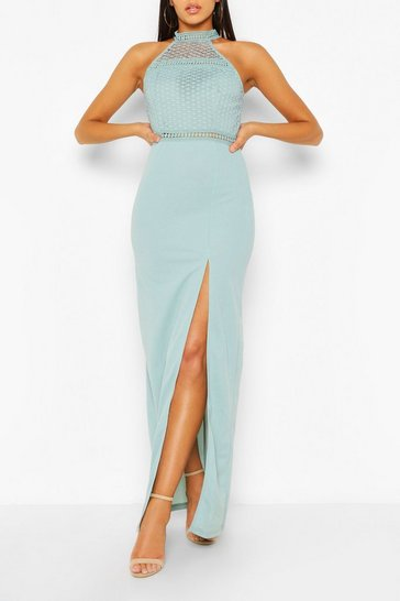 Duck egg High Neck Maxi Dress