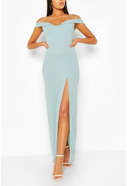 Duck egg Off Shoulder Maxi Dress