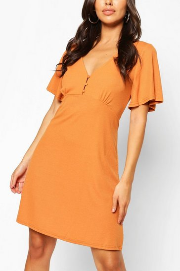 Mustard Button Front Flutter Sleeve Tea Dress