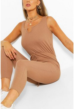 Basic Ribbed Strappy Unitard, Camel