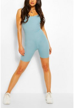 Petrol Basic Ribbed Strappy Unitard
