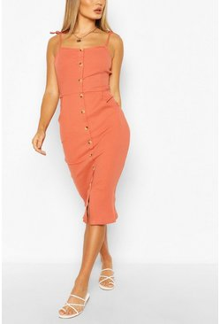 Rust Button Front Midi Dress