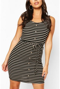 Black Button Front Stripe Mini Dress