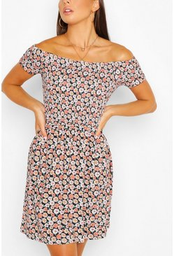Coral Daisy Print Off Shoulder Sun Dress