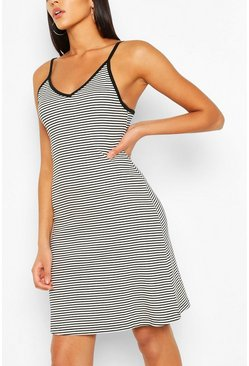 Black Striped Strappy Swing Dress