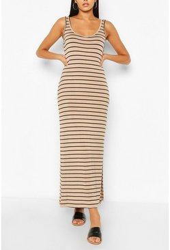 Ecru Striped Maxi Dress