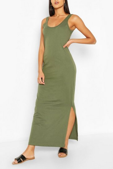 Khaki Scoop Neck Maxi Dress