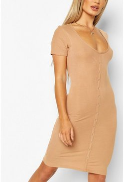 Camel Button Front Ribbed Mini Dress