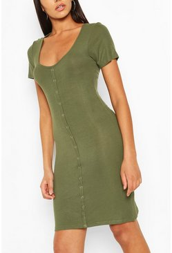 Khaki Button Front Ribbed Mini Dress